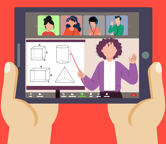 Real classroom vs. virtual classroom - online class - virtual learning - online learner holding tablet - taking online lesson